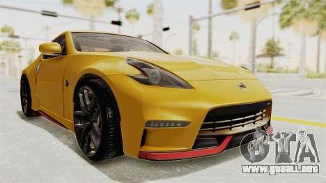 Nissan 370Z Nismo Z34 para la visión correcta GTA San Andreas