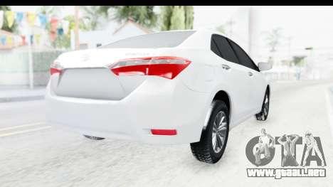 Toyota Corolla 2015 para GTA San Andreas vista posterior izquierda