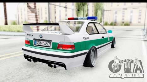 BMW M3 E36 Stance Lithuanian Police para GTA San Andreas left