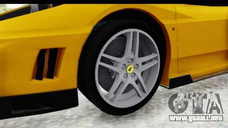 Ferrari F430 SVR para GTA San Andreas vista hacia atrás