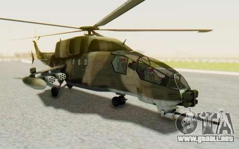 WZ-19 Attack Helicopter Asian para GTA San Andreas vista posterior izquierda
