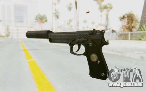Tariq Iraqi Pistol Back v1 Black Silenced para GTA San Andreas segunda pantalla