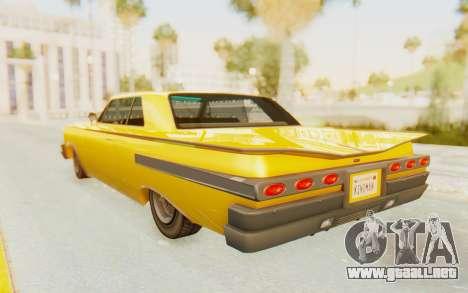GTA 5 Declasse Voodoo PJ SA Lights para GTA San Andreas left