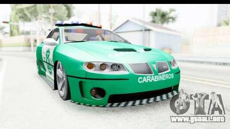 Pontiac GTO 2006 Carabineros De Chile para GTA San Andreas