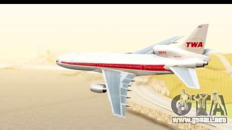 Lockheed L-1011-100 TriStar Trans World Airlines para GTA San Andreas left