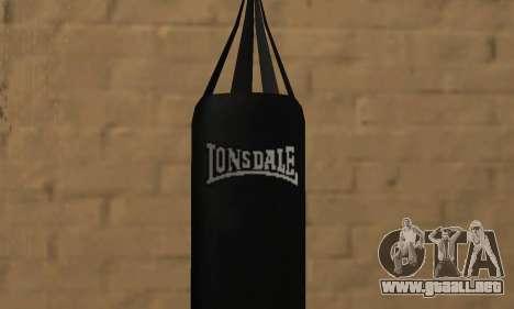 Saco de boxeo LonsDale para GTA San Andreas segunda pantalla