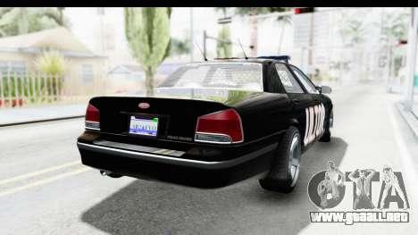 Vapid ULTOR Police Cruiser para GTA San Andreas vista posterior izquierda