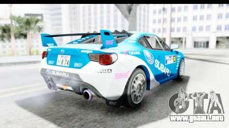 Subaru BRZ Rally para la visión correcta GTA San Andreas