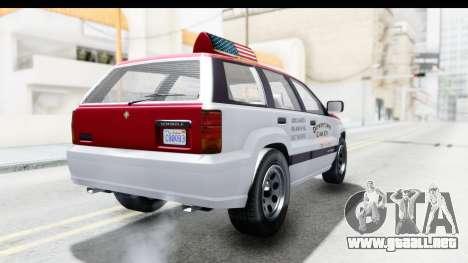 GTA 5 Canis Seminole Downtown Cab Co. Taxi para GTA San Andreas vista posterior izquierda