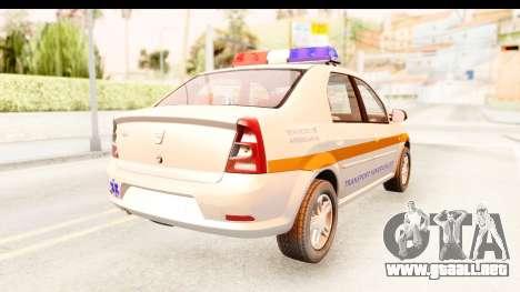 Dacia Logan Facelift Ambulanta v2 para GTA San Andreas vista posterior izquierda