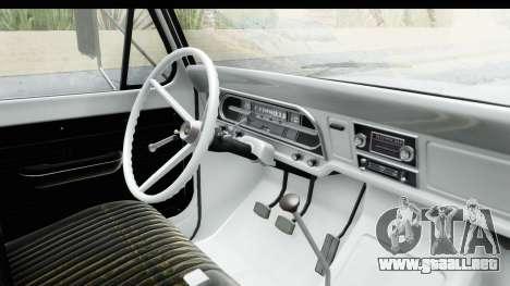 Ford F-350 Farm Truck 1970 para visión interna GTA San Andreas