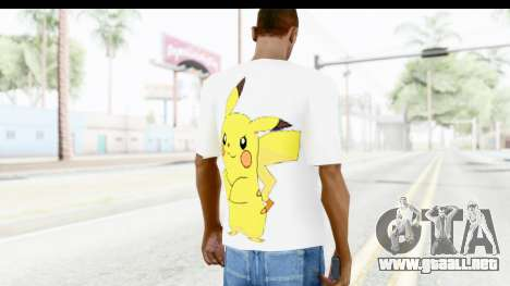 T-Shirt Pokemon Go Pikachu para GTA San Andreas segunda pantalla