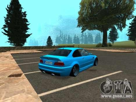 BMW M3 E46 Postura para GTA San Andreas vista posterior izquierda