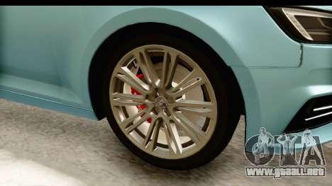 Audi A4 TFSI Quattro 2017 para GTA San Andreas vista hacia atrás