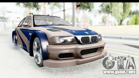 NFS Carbon - BMW M3 GTR para GTA San Andreas vista posterior izquierda