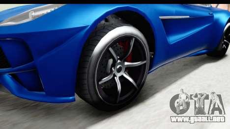GTA 5 Dewbauchee Seven 70 para GTA San Andreas vista hacia atrás