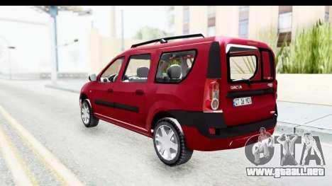 Dacia Logan MCV para GTA San Andreas vista posterior izquierda