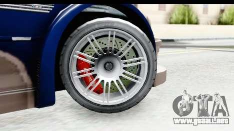 NFS Carbon - BMW M3 GTR para GTA San Andreas vista hacia atrás