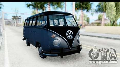 Volkswagen Transporter T1 Deluxe Bus para la visión correcta GTA San Andreas