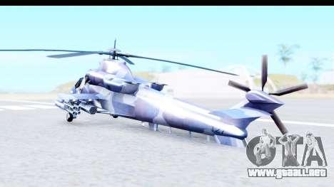 Denel AH-2 Rooivalk Blue para GTA San Andreas vista posterior izquierda