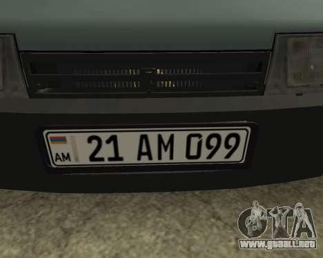 Vaz 21099 ARMNEIAN para visión interna GTA San Andreas