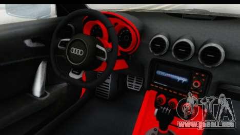 Audi TT RS para GTA San Andreas vista hacia atrás