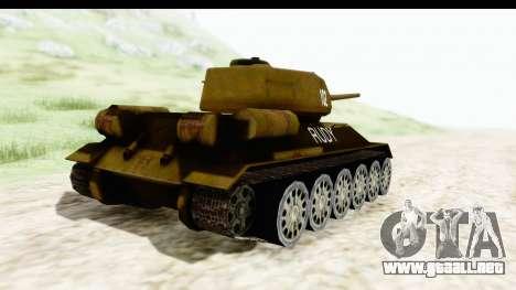 T-34-85 Rudy 102 para GTA San Andreas vista posterior izquierda