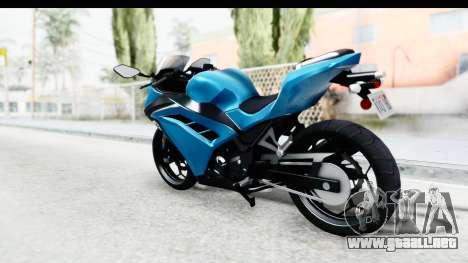 Kawasaki Ninja 300R para GTA San Andreas left