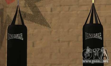 Saco de boxeo LonsDale para GTA San Andreas sucesivamente de pantalla