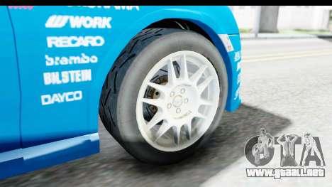 Subaru BRZ Rally para GTA San Andreas vista hacia atrás