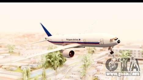 Boeing 777-200LR Philippine Airline Retro Livery para GTA San Andreas vista posterior izquierda