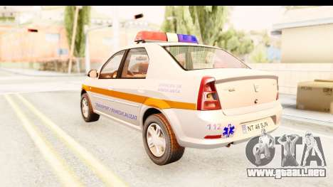 Dacia Logan Facelift Ambulanta v2 para GTA San Andreas left