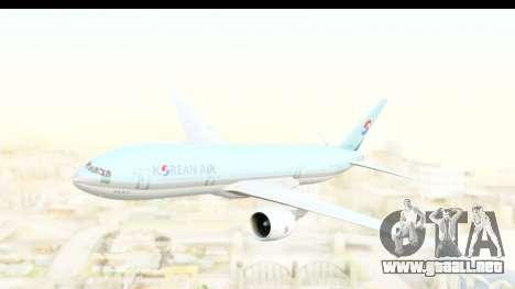 Boeing 777-200ER Korean Air para GTA San Andreas vista posterior izquierda