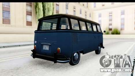 Volkswagen Transporter T1 Deluxe Bus para GTA San Andreas vista posterior izquierda
