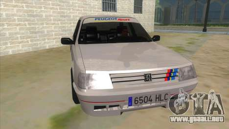 Peugeot 309 Rallye para GTA San Andreas vista hacia atrás