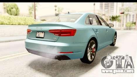 Audi A4 TFSI Quattro 2017 para GTA San Andreas vista posterior izquierda