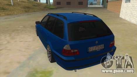 BMW E46 Touring Facelift para GTA San Andreas vista posterior izquierda