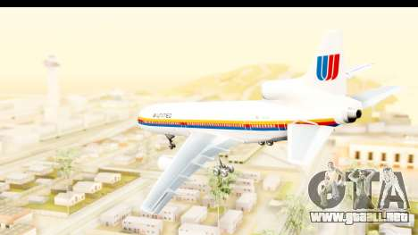 Lockheed L-1011-100 TriStar United Airlines para GTA San Andreas left