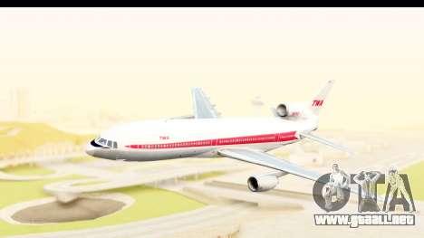 Lockheed L-1011-100 TriStar Trans World Airlines para GTA San Andreas vista posterior izquierda