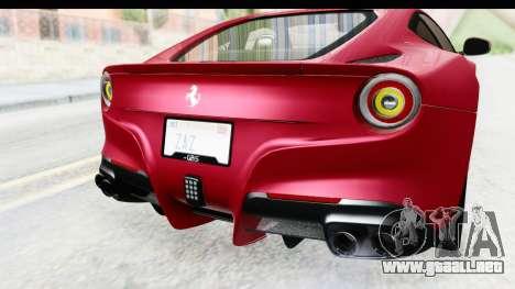 Ferrari F12 Berlinetta 2014 para vista inferior GTA San Andreas