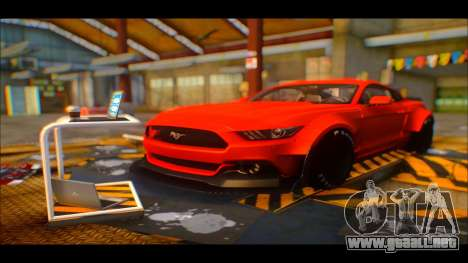 Ford Mustang 2015 Liberty Walk LP Performance para GTA San Andreas vista hacia atrás