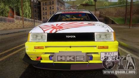Toyota AE86 2 Door Levin para GTA San Andreas vista posterior izquierda