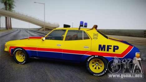 Main Force Patrol Vehicle Mad Max para GTA San Andreas vista posterior izquierda
