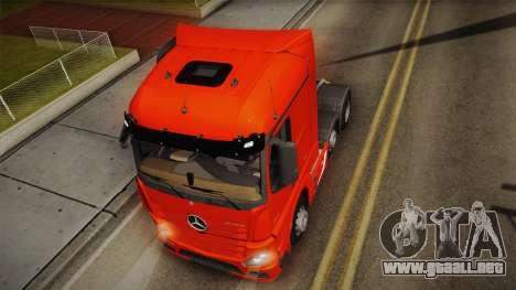 Mercedes-Benz Actros Mp4 6x2 v2.0 Steamspace v2 para GTA San Andreas vista hacia atrás