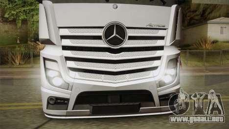Mercedes-Benz Actros Mp4 6x2 v2.0 Bigspace v2 para GTA San Andreas vista posterior izquierda