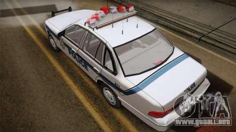 Ford Crown Victoria 1997 El Quebrados Police para GTA San Andreas vista posterior izquierda