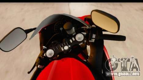 Yamaha R1 2014 para GTA San Andreas vista hacia atrás