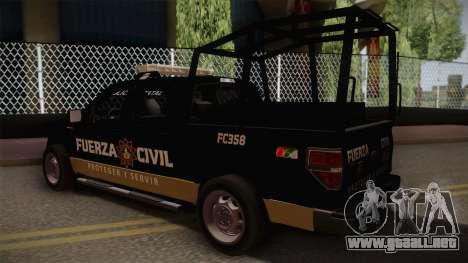 Ford F-150 de la Fuerza Civil de Nuevo Leon para GTA San Andreas left