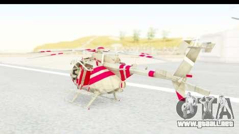 Smaga Sparrow Helis Military Version para GTA San Andreas vista posterior izquierda