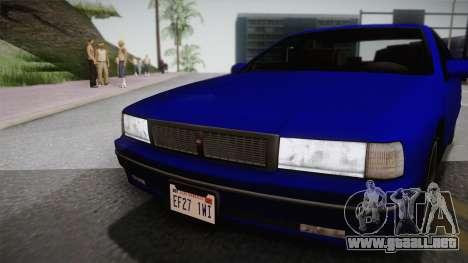 Declasse Premier 1992 IVF para GTA San Andreas vista posterior izquierda